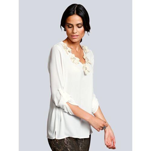 Alba Moda Bluse mit strassverzierten Stoffblumen, Off-white