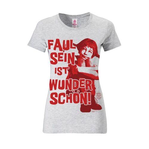 LOGOSHIRT T-Shirt mit Pippi Langstrumpf-Frontprint »Pippi Langstrumpf«, grau meliert