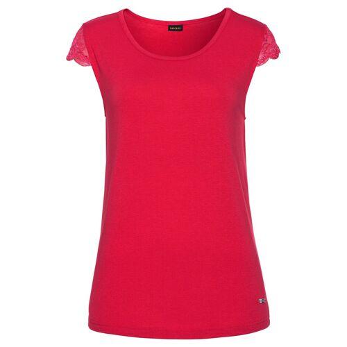 LASCANA T-Shirt mit Spitzenärmeln, rot