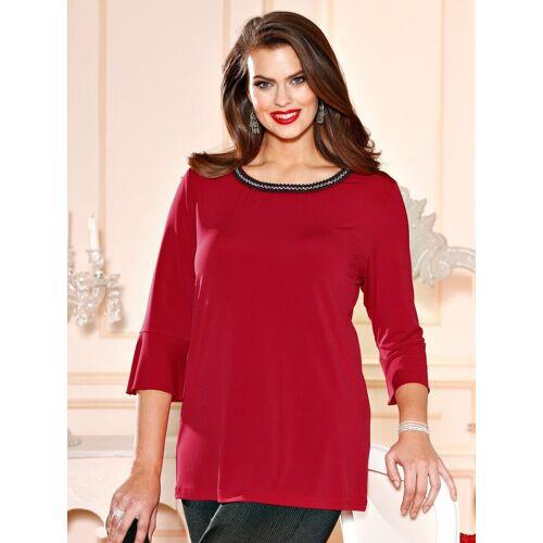 m. collection Shirt mit Dekoperlen und Steinchen, Rot