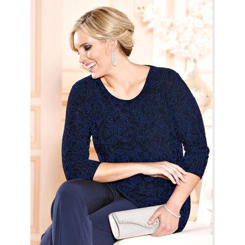 m. collection Shirt mit Muster aus kleinen Dekoperlen, Marineblau