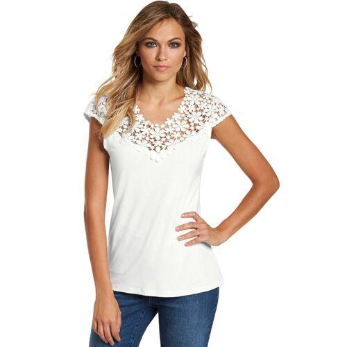 Creation L création L Shirt mit hochwertiger Blütenspitze, weiß