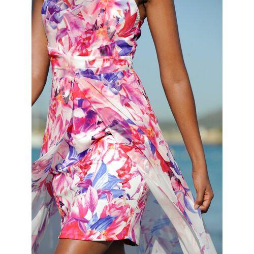 Alba Moda Strandkleid in Doppeloptik, weiss- pink