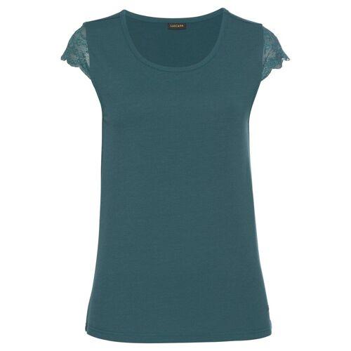 LASCANA T-Shirt mit Spitzenärmeln, petrol