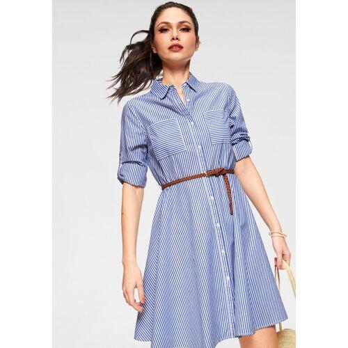 HaILY'S Blusenkleid »CLEA« mit Gürtel, blau-weiß-gestreift