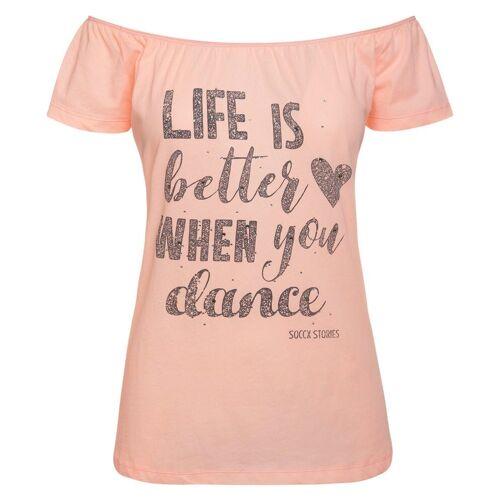 SOCCX T-Shirt mit Schriftzug, rosa