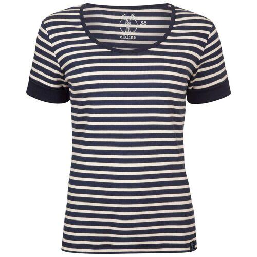 Elkline Damen T-Shirt Strandläufer, Blau/Weiß