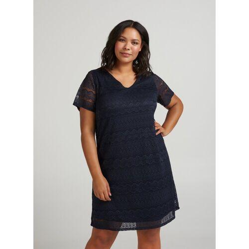 Zizzi Spitzenkleid Damen Große Größen Spitzenkleid Knielang Spitze Elegant Kleid, dunkelblau