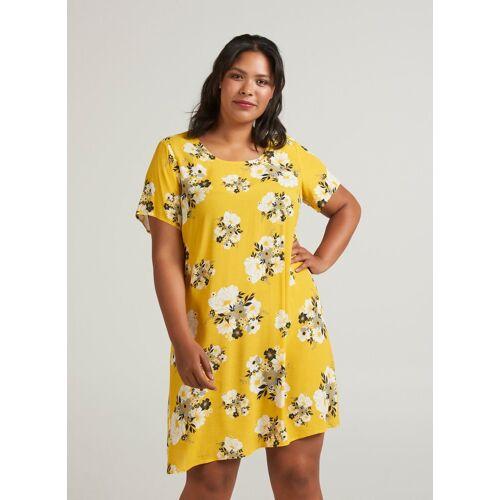 Zizzi Shirtkleid Damen Große Größen Bluse Kurzarm Blumenmuster Elegant Sommerbluse, gelb