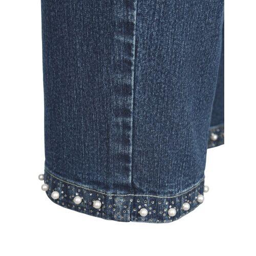 m. collection 3/4-Jeans mit Dekoperlen und Steinchen am Saum, Denim