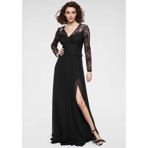 GUIDO MARIA KRETSCHMER Abendkleid mit raffinierten Spitzenärmeln, schwarz
