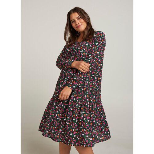 Zizzi Shirtkleid Damen Große Größen Kleid Elegant Langarm Geblümtes Sommerkleid
