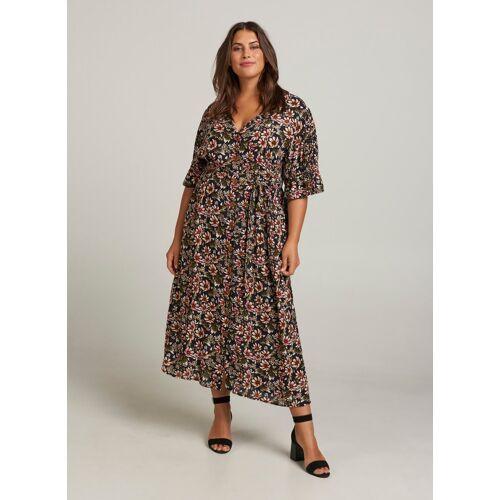 Zizzi Sommerkleid Damen Kleid Große Größen Maxikleid Blumenprint Kurzarm Sommerkleid