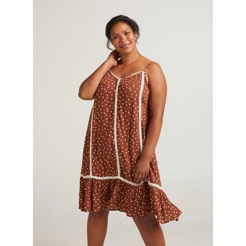 Zizzi Sommerkleid Damen Große Größen Kleid Punkte Rüschen Ärmellos Sommerkleid