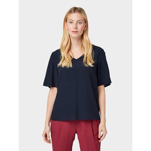 TOM TAILOR Shirtbluse »Kurzarm-Bluse mit Knopf-Details«, blau