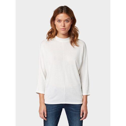 TOM TAILOR 3/4-Arm-Shirt »3/4 Arm Shirt mit Fledermausärmeln«, weiß