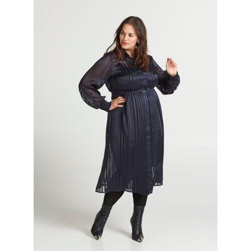 Zizzi Shirtkleid Damen Große Größen Kleid Elegant Langarm Kragen Hemdkleid