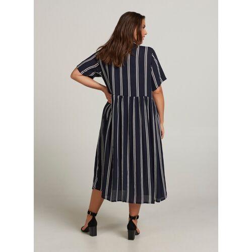 Zizzi Sommerkleid Damen Große Größen Kleid Falten Kurzarm Streifen Hemdkleid