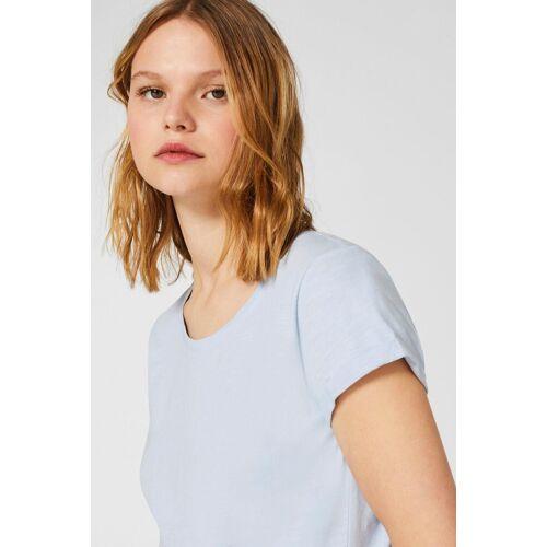 edc by Esprit Print-Shirt mit kurzen Ärmeln mit Umschlagsaum, pastel blue