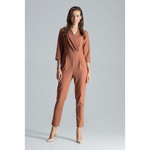 FIGL Jumpsuit im eleganten Wickeldesign »M672«, Brown
