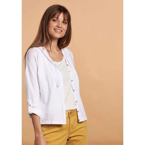 NILE Shirtjacke mit Kapuze und Krempelärmeln, weiß