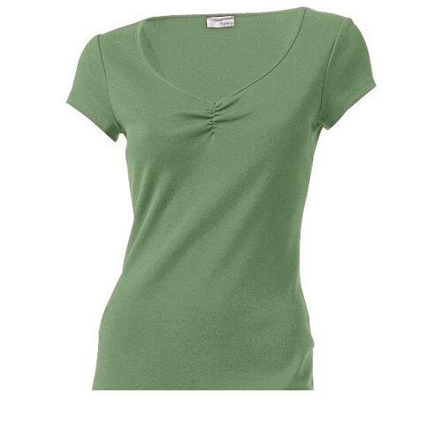 heine CASUAL Shirtkleid mit Raffung am Ausschnitt, grün