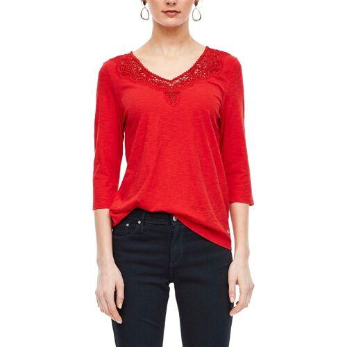 s.Oliver 3/4-Arm-Shirt mit hochwertiger Häkelspitze, Red