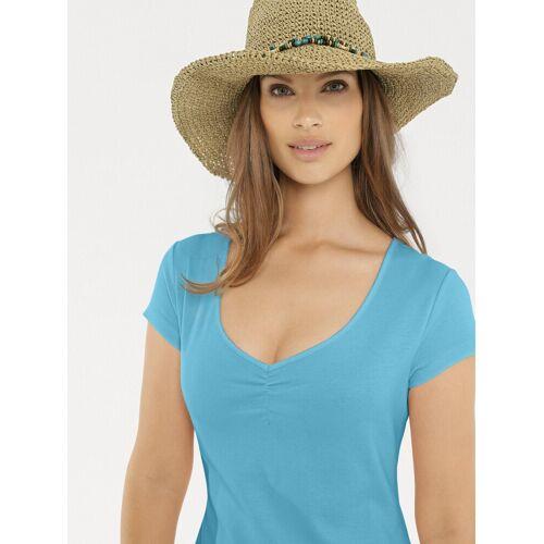 heine CASUAL Shirtkleid mit Raffung am Ausschnitt, aqua