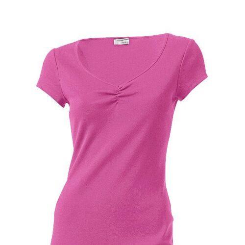 heine CASUAL Shirtkleid mit Raffung am Ausschnitt, pink