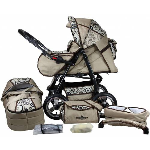 bergsteiger Kombi-Kinderwagen »Rio, beige circles, 3in1«, (10-tlg), mit Lufträdern; Made in Europe; Kinderwagen