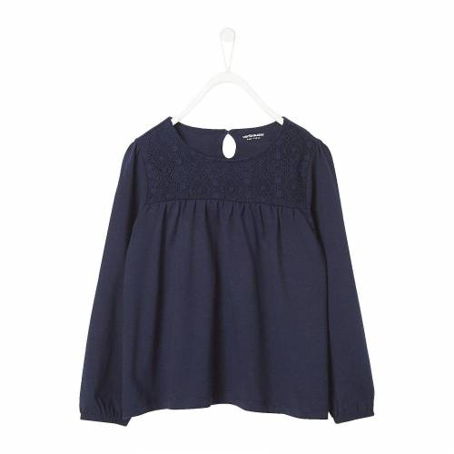vertbaudet Langarmshirt für Mädchen, dunkelblau