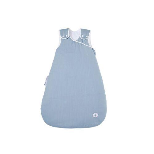 Nordic Coast Company Babyschlafsack, Baby-Schlafsack mitwachsend & atmungsaktiv I Kinderschlafsack waschbar I leichter Schlafsack I Baumwolle I Blau Grau