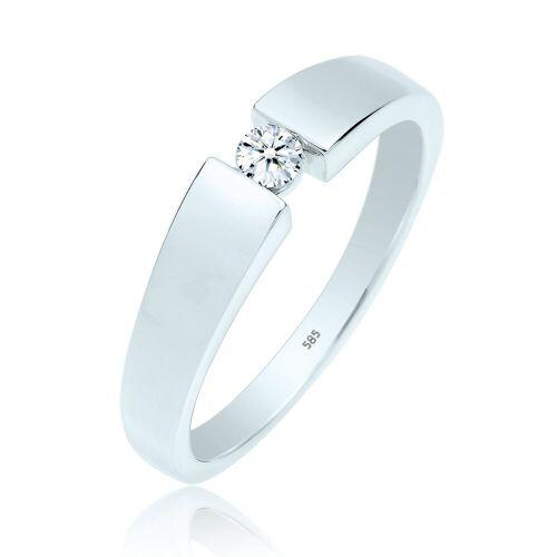 Diamore Ring »Verlobungsring Diamant (0.10 ct) 585 Weißgold«, Weiß