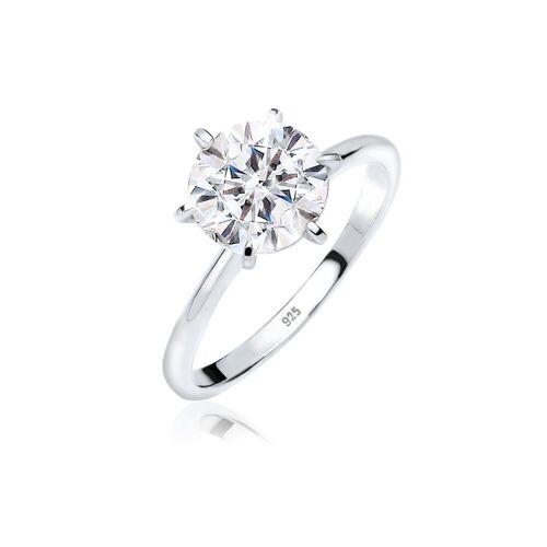 Elli Ring »Verlobungsring Swarovski® Kristalle 925 Silber«, Weiß