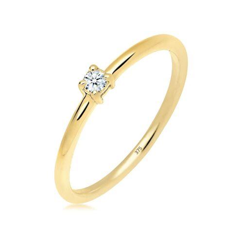 Diamore Ring »Verlobungsring Diamant 0.06 ct. 375 Gelbgold«, Weiß