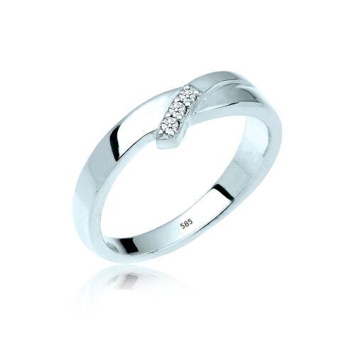Diamore Diamantring »Trio Verlobung Diamant 0.06 ct. 585 Gold«, weiß
