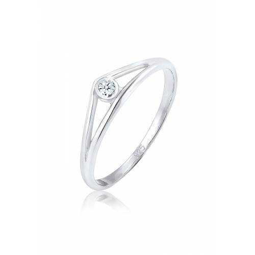 Diamore Diamantring »Verlobungsring Geo Diamant (0.03 ct) 925 Silber«