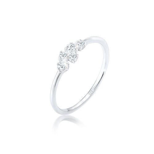 Diamore Diamantring »Verlobung Diamant (0.12 ct) Pavé 925 Silber«, Silber 925