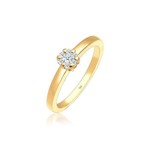 Diamore Diamantring »Blume Verlobung Diamant (0.15 ct) 585 Gelbgold«