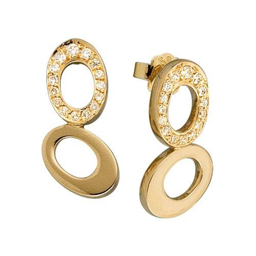 Jobo Paar Ohrstecker 585 Gold mit 30 Diamanten, Gelbgold 585