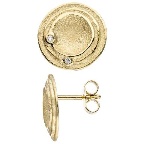 Jobo Paar Ohrstecker rund 585 Gold mit 4 Diamanten, Gelbgold 585