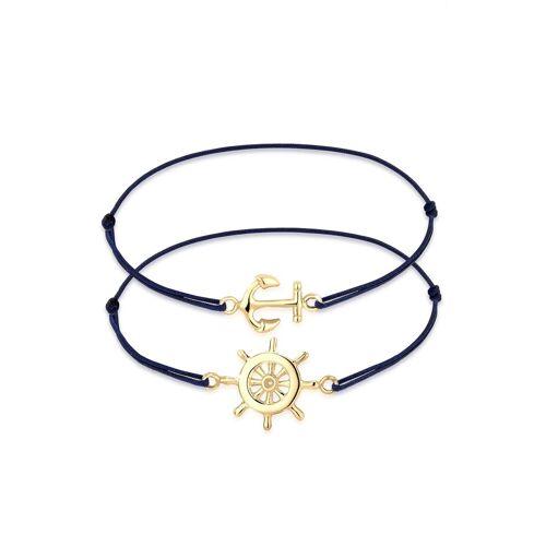 Elli Armband Set »Set Anker Steuerrad Freundschaft 925er Silber«, goldfarben