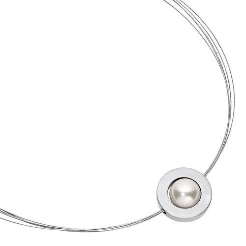 Heideman Kette mit Anhänger »Saturn Glanzmatt«, Perlenkette zur Hochzeit oder Brautschmuck