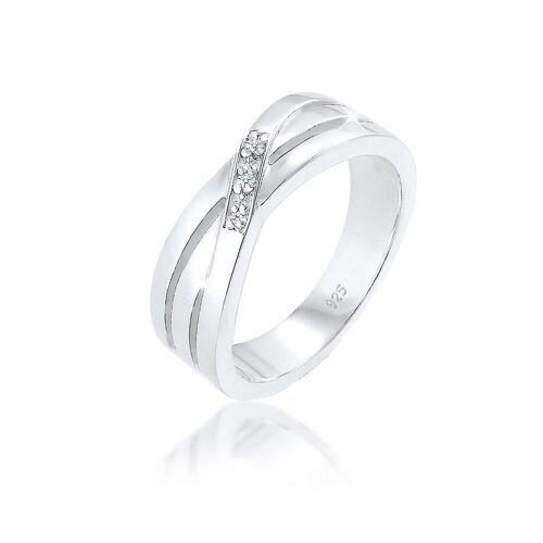 Diamore Diamantring »Cross Over Verlobung Diamant 0.03 ct. 925 Silber«