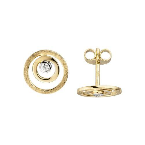 Jobo Paar Ohrstecker 585 Gold mit 2 Diamanten, Gelbgold 585