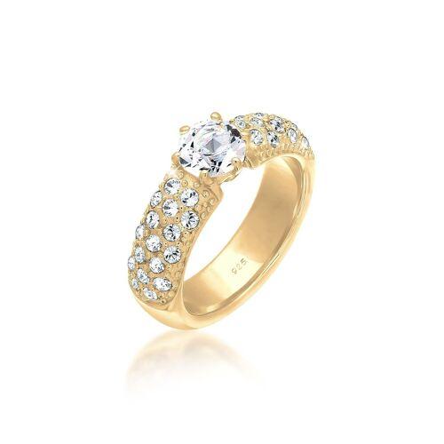 Elli Fingerring »Verlobungsring Swarovski® Kristalle 925 Silber«, goldfarben