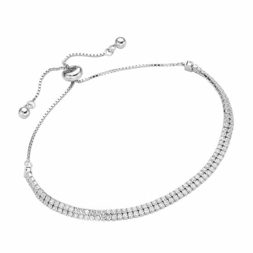 Smart Jewel Armband »Tennisarmband 2-rhg., Silber 925«