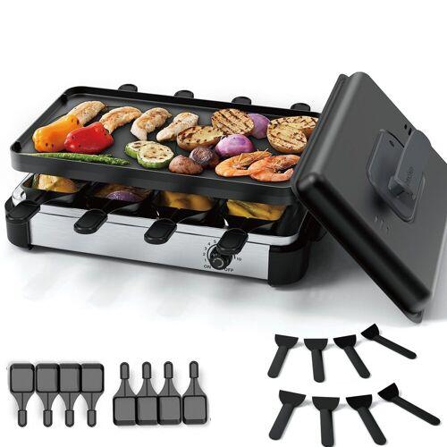 muchen Raclette Raclette Grill mit 8 Mini Raclette Pfännchen 8 Spatel Raclette 8 Personen edelstahl matt, 8 Raclettepfännchen, 1200 W, mit Deckel
