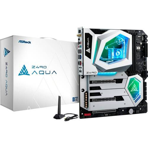 ASRock »Z490 AQUA« Mainboard RGB LED, PCIe 4.0 Ready, PCIE 4.0 Clock Generator, PCIE 4.0 M.2 Sockel, PCIE 4.0 Switches, PCIE 4.0 Re-Driver