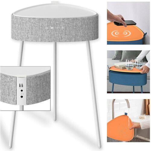fontastic Mesu Drahtloser Lautsprecher-Tisch Bluetooth-Lautsprecher, weiß